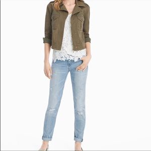 WHBM The Girlfriend Crop Distressed Light Jeans